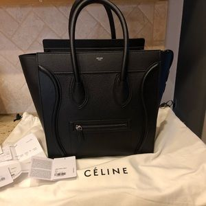 Celine Luggage Mini Black Drummed Calfskin
